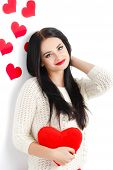 picture of woman red blouse  - Studio portrait of a young woman  - JPG