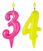 Birthday Candles Number Thirty Four