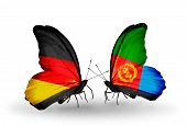 Two Butterflies With Flags On Wings As Symbol Of Relations Germany And Eritrea