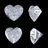 Top And Side Views Of Heart Shaped Diamond