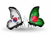 Two Butterflies With Flags On Wings As Symbol Of Relations South Korea And Bangladesh