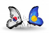 Two Butterflies With Flags On Wings As Symbol Of Relations South Korea And Palau