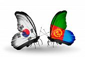 Two Butterflies With Flags On Wings As Symbol Of Relations South Korea And Eritrea