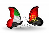 Two Butterflies With Flags On Wings As Symbol Of Relations Uae And Angola
