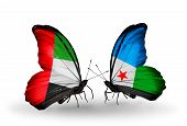 Two Butterflies With Flags On Wings As Symbol Of Relations Uae And Djibouti