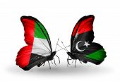 Two Butterflies With Flags On Wings As Symbol Of Relations Uae And Libya