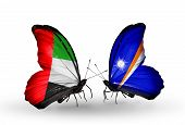 Two Butterflies With Flags On Wings As Symbol Of Relations Uae And Marshall Islands