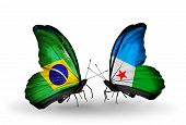 Two Butterflies With Flags On Wings As Symbol Of Relations Brazil And Djibouti
