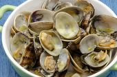 foto of clam  - Clams with garlic served on a plate - JPG
