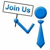 Join Us Human Holding Signboard