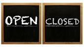 Open and Closed signs on framed blackboard