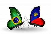 Two Butterflies With Flags On Wings As Symbol Of Relations Brazil And Liechtenstein
