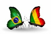 Two Butterflies With Flags On Wings As Symbol Of Relations Brazil And Mali