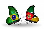 Two Butterflies With Flags On Wings As Symbol Of Relations Brazil And Mozambique