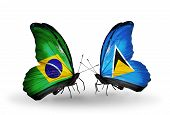 Two Butterflies With Flags On Wings As Symbol Of Relations Brazil And Saint Lucia