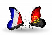 Two Butterflies With Flags On Wings As Symbol Of Relations France And Angola