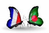 Two Butterflies With Flags On Wings As Symbol Of Relations France And Bangladesh