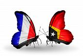 Two Butterflies With Flags On Wings As Symbol Of Relations France And East Timor