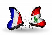 Two Butterflies With Flags On Wings As Symbol Of Relations France And Lebanon