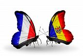 Two Butterflies With Flags On Wings As Symbol Of Relations France And Moldova