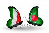 Two Butterflies With Flags On Wings As Symbol Of Relations Italy And Bangladesh
