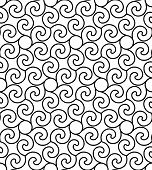 Black And White Seamless Pattern With Twist Line Style.