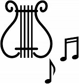 Lyre and musical notes - Vector illustration