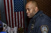 NYPD officer at memorial