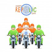picture of ashoka  - Young bikers in national flag color dress with Ashoka Wheel for Happy Indian Republic Day celebration - JPG