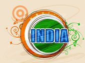 National tricolor sticky design with text India on floral decorated background for Indian Republic Day celebration.