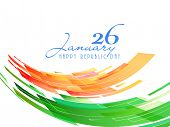 26 January, Indian Republic Day celebration with national flag colors on white background.