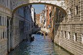 Gondola under the Bridge of sighs in Venice