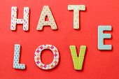 Colorful Text, Hate And Love