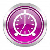alarm violet icon alarm clock sign