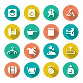 image of dirty-laundry  - Set flat icons of laundry isolated on white - JPG