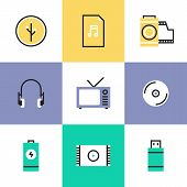 Sound And Video Pictogram Icons Set