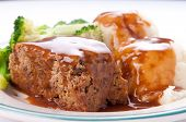 stock photo of meatloaf  - delicious meatloaf with mashed potatoes - JPG