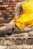 Hand Of Buddha At Wat Yai Chaimongkol Temple Ayutthaya Was The Old Capital Of Thailand