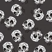 weird looking skull seamless pattern cartoon illustration