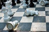 White chess-men lying on the board