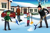 image of snow shovel  - A vector illustration of family shoveling snow in front of their house - JPG