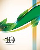 eps10 vector leaf and wave green elements, multicolor lines elegant business background