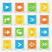 Colorful square arrow sticker icons
