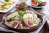Spiced cous-cous with green beans and cheese