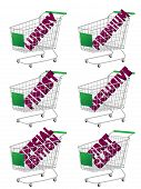 Green 3D Shopping Cart With Luxury Articles Texts