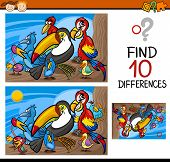 stock photo of brain teaser  - Cartoon Illustration of Finding Differences Educational Game for Preschool Children with Colorful Exotic Birds - JPG