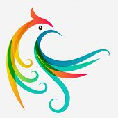 picture of colibri  - Abstract multicolor tropical bird logo design template - JPG