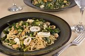 picture of glass noodles  - Noodles with seafood served on a plate - JPG