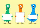 pic of creatures  - Cute Colorful Furry Creatures Holding Blank White Signs - JPG