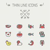 picture of fish icon  - Food and drink thin line icon set for web and mobile - JPG
